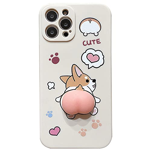 Aertemisi Compatible with iPhone 12 Pro Max Case, Funny Corgi Butt Soft TPU Case Cover for iPhone 12 Pro Max (6.7'')