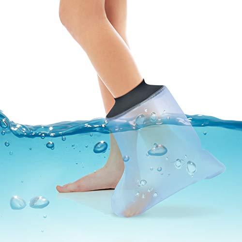 Funda fundida para tobillo de pie de adulto, protector impermeable para baño, vendaje de ducha impermeable y protector de heridas para tobillo lesionado de pie roto, mantiene los vendajes de heridas secos, cubiertas de heridas de ducha