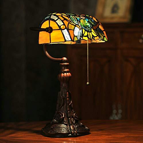 NANXCYR Tiffany-Stil Libelle Rose Banker Tischlampe, 10-Zoll-Buntglas-Lampenschirm-Weinlese-Leseschreibtischlampe für Schlafzimmer Wohnzimmer Bar Hotel Bett, E27