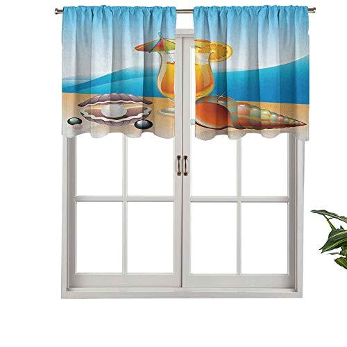 Hiiiman Cenefa recta, cortina de cristal con bolsillo para barra de playa, 127 x 45 cm, ideal para cualquier habitación y dormitorio