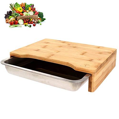 SCHOBERG XXL Bambus Schneidbrett Küchenbrett mit Auffangschale 47 x 32,5 x 7cm Schneidunterlage für Fleisch, Gemüse und Käse