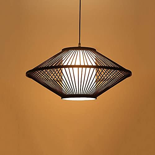Xungzl Iluminación colgante de bambú de estilo retro tejido a mano, lámpara de ratán de estilo rural natural ecológico original, con lámpara colgante de pergamino de imitación, dispositivo de iluminac