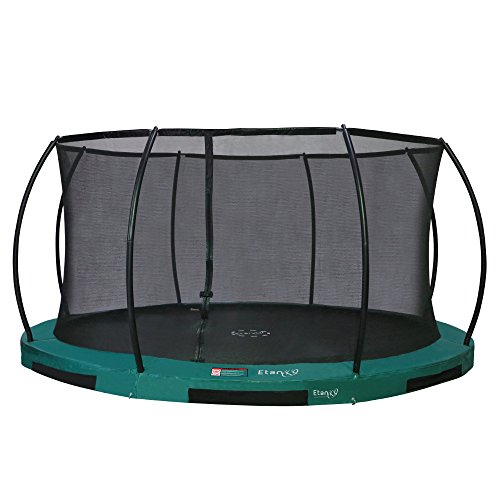 Etan Hi–Flyer Outdoor Boden Trampolin mit Sicherheitsnetz – Inground Gartentrampolin mit UV-beständiges Randabdeckung – eingegraben Trampolin Kinder mit Netz – Rund – Grün