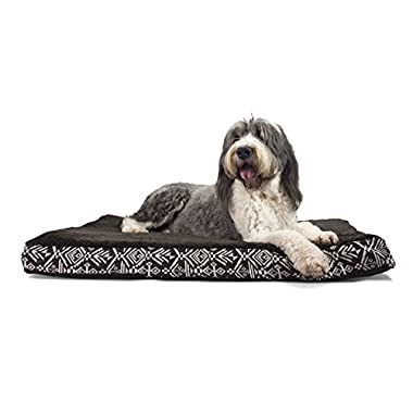 FurHaven Deluxe Orthopedic Plush Kilim Pet Bed Mattress for Dogs and Cats, Southwest Espresso, Extra Large