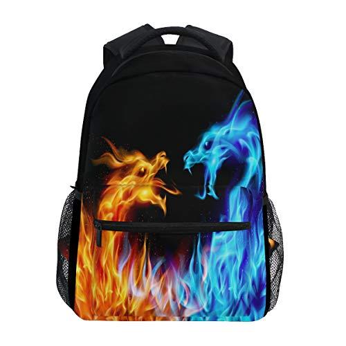 Rucksack, abstrakt, blau, orange, feurige Drachen, wasserdicht, für Schule, Fitnessstudio, Rucksack, Laptop-Tasche, Outdoor, Reisetasche für Kinder, Jungen, Mädchen, Damen, Herren