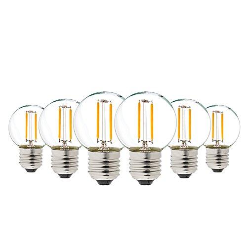 Genixgreen G40 Vintage 1W LED Filament Birnen warmes Weiß 2700K ES LED Antike Edison E27,100 Lumen Ersetzt 10 Watt Glühlampen Equivalent,nicht dimmbar,6er Pack [Energieklasse A++]