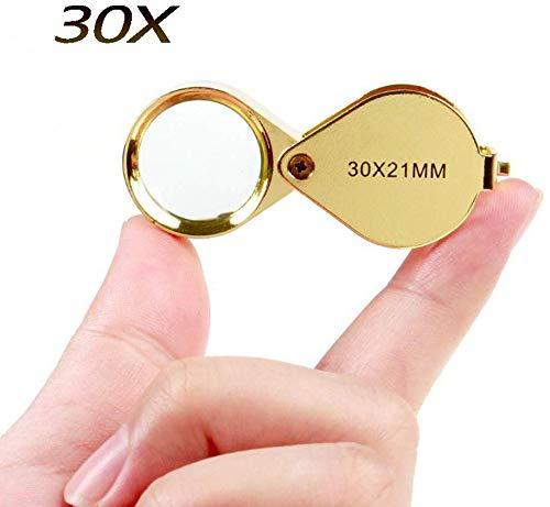 ETJar Lupa Lupa plegable de vidrio 30X Lupa de joyería Antigüedades