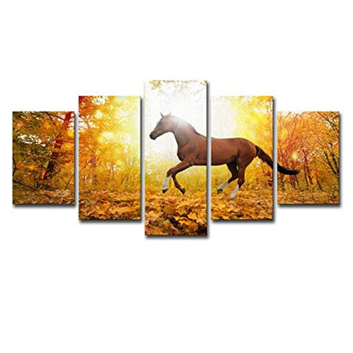 Schilderijen JFW-Poster HD Gedrukt Canvas Print Home Decor 5 Panel Forest Running Paard Esdoorn laat Wall Art Foto's Voor Kamer,A,20x30x2+20x40x2+20x50x1