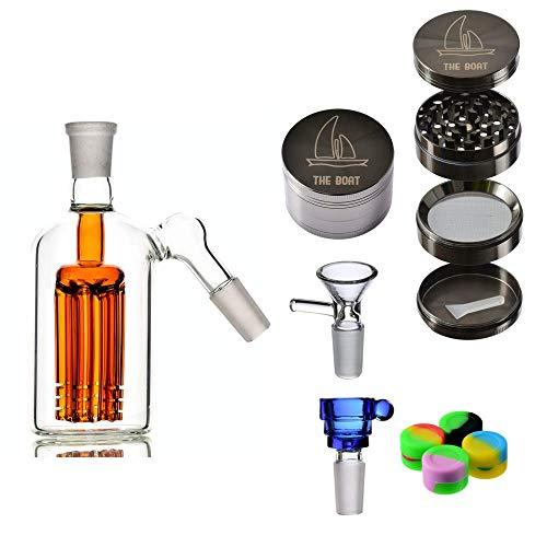 Imagen del producto Bong cristal percolador externo - THE BOAT Begoña 13 cm + Grinder THE BOAT metalico Ligero 4 Piezas + Bowls vidrio + Accesorios de silicona - Hecho a mano (Naranja)