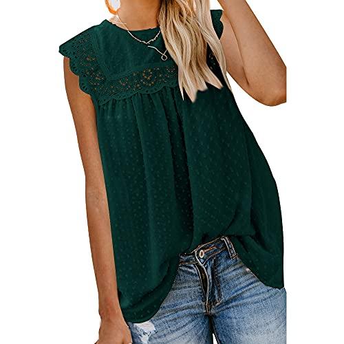 Mayntop Camiseta sin mangas de manga corta para mujer, A-verde oscuro, 40