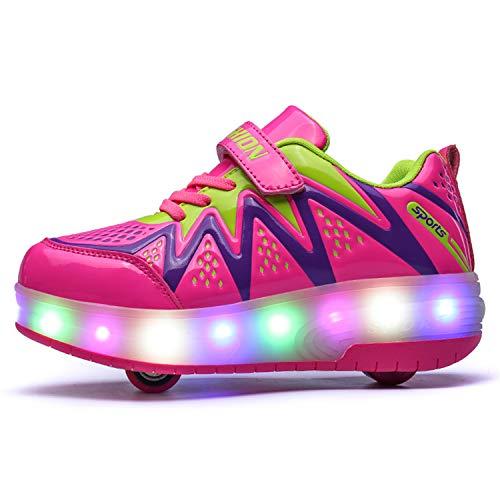 Unisex Ni/ños LED Zapatos de Skate con Ruedas,LED Luminosas Flash Zapatillas de Skateboard Ajustables Ruedas Zapatos de Roller para Ni/ñas Los Mejores Regalos