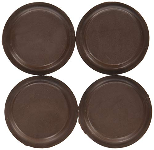 Merriway BH01560 Non-Slip Rubber Castor Cups for Wood Hard Floors, Outer Dia.54mm (2.5/8 inch) - Small, Brown, Pack of 4