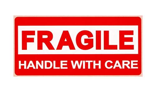 BT-Label 650 Warnetiketten FRAGILE Aufkleber 78 x 36 mm rot/weiß Vorsicht zerbrechlich Bruchgefahr Warnaufkleber Etiketten Attention-Sticker handle with care