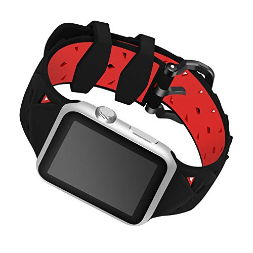 Fhony Reemplazo Correas Compatible con Apple Watch 38mm 40mm 42mm 44mm Respirable Impermeable Suave Silicona Deportes Correa para Iwatch Series 6 SE 5 4 3 2 1 Suave Pulsera,Black+Red,38/40mm