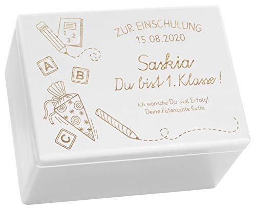 LAUBLUST Holzkiste mit Gravur - Personalisiert mit ❤️ Datum | Name | WIDMUNG ❤️ - Weiß, Größe XL - Schultüte Motiv - Geschenkkiste zur Einschulung