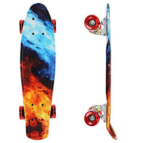 streakboard Skateboard Complet 56cm,Mini Cruiser Board,Planche à Roulette avec Plateau en Plastique Renforcé et Roues PU de 58 mm,Roulement ABEC-7, pour Enfant,Adulte,Ado,Garçon,Fille