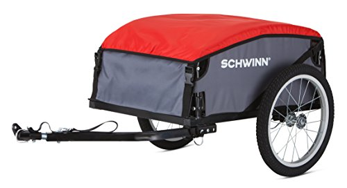 Schwinn Day Tripper Cargo Bike Trailer, Folding Frame, Quick Release Wheels, Red/Grey