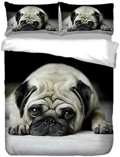 XWXBB Juego de ropa de cama para niños y niñas, con diseño de animales, color amarillo, cachorro y carlino, funda nórdica de poliéster (A01,220 x 260 cm)