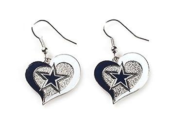 Aminco NFL Dallas Cowboys Swirl Heart Earrings