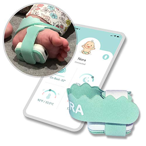 NORA Smart Sock Baby Monitor (New 2022 Model). Birth to 3 Years. Heart Rate, Sleep Position, Temperature & Sleeping Tracking. iOS & Android. Green