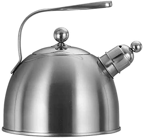 Kettle Kettle Kettles de silbato de acero inoxidable Tetera de silbidos engrosados Manija curvada para el hogar Adecuado para todos los tipos de estufas de encendido, incluida la inducción 2.3L