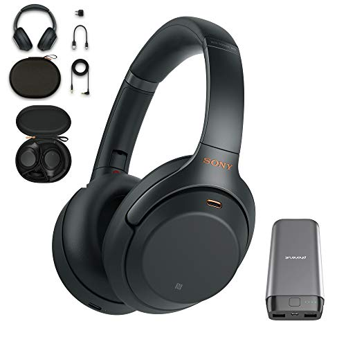 Sony WH-1000XM3 Wireless Noise Canceling Over Ear Headphones with Voice Assistant, Black (WH-1000XM3/B, USA Warranty) with 20,000mAh High Capacity Portable Power Bank Bundle