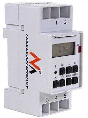 Maclean MCE09 - Programador/temporizador eléctrico digital semanal tipo carril DIN 16A 220V...