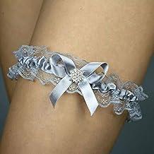 Giarrettiera di pizzo matrimonio sposa biancheria intima regali de nozze addio al nubilato diamante argento