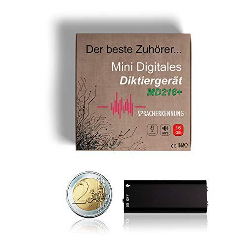 INMO Digitales Mini Diktiergerät MD216+ mit Stimmenaktivierung und 16 GB Speicher – Wanze - Aufnahmegerät mit Mikrofon - Kleiner Voice Recorder mit MP3 Player Funktion - Abhörgehör mit Spracherkennung