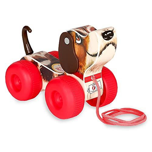 Fisher-Price Klassiker FISH800500 Retro Kleiner Schnüffler, Nachziehspielzeug auf Rädern, Hund mit Wackel Schwanz & schwingenden Ohren, Nachziehhund fürs Kinderzimmer, für Baby & Kleinkinder ab 1 Jahr