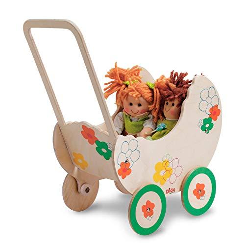 Dida - Pequeña Cochecito de Madera para muñecas - Decoración: Flores