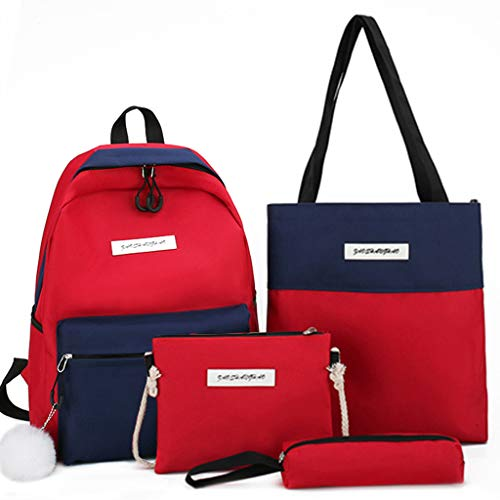 PINGDI 4pcs Canvas Backpack Patchwork Daypacks School Shoulder Bags Bookbag Pencil Case Set for Student Teen Girls