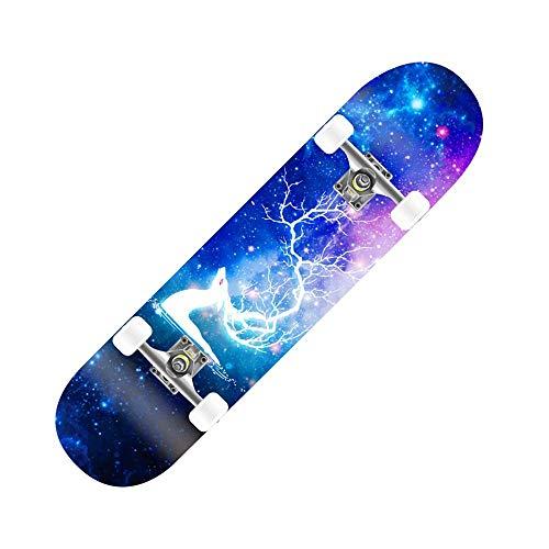 Skateboard Decks 7Layers Complete Skateboard for Pro Anfänger Erwachsene Kinder Jungen Mädchen Bunte Mit Maple Deck, High-Speed-Silent-Lager, einzigartige Muster, eine Vielzahl von Stilen for Sie zu w