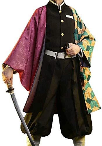 BTXX Shinobu Traje Adulto Tanjirou/Nezuko/Zenitsu/Giyuu/Cosplay Traje de rol Kisatsutai Conjunto Uniforme Animado Kimono Traje for Hombres y Mujeres (Color : Tomioka Giyuu, Size : L)
