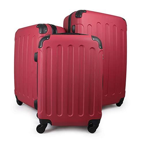 Sotech Kofferset Hartschalen 3 teilig, Hartschalenkoffer handgepäck Rot, Reisekofferset 4 Roller, Koffer aus ABS-Hartschale, mit TSA-Zahlenschloss