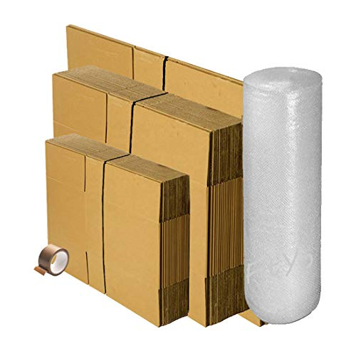 Kit de déménagement 10 cartons standard + 10 cartons livres + 2 cartons coussins + 10 mètres de papier bulles + 1 adhésif Offert. Idéale déménagement ou expédition. De la marque FitYo