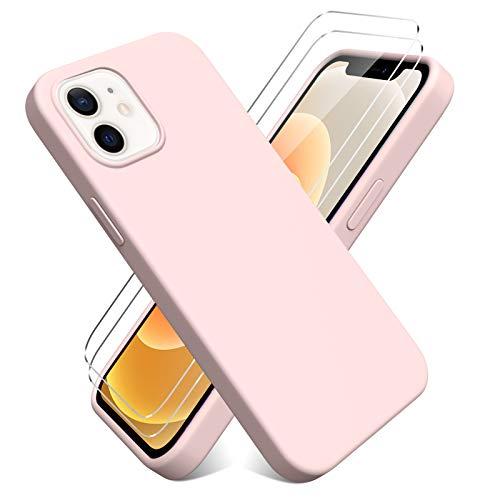 Oududianzi - Cover per iPhone 12 Mini(5.4'') + [2 Pack] Pellicola Protettiva in Vetro Temperato, Custodia Liquid Silicone TPU Cover Ultra-Sottile AntiGraffio Antiurto Case - Rosa