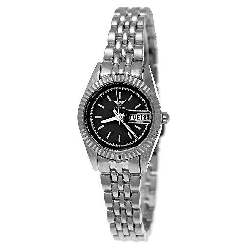 Elegante Kleine Ny London Designer Damen-Uhr Analog Quarz Armband-Uhr in Silber Schwarz mit Datum