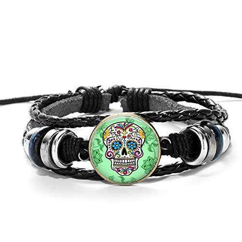 Inveroo Vintage Hippie Esqueleto PU Pulsera de Cuero Mexicano azúcar Calavera Arte Popular patrón de Cristal cabujón Pulsera de Cuerda Ajustable