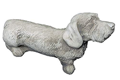 gartendekoparadies.de Süsser Hund Rauhaar Dackel aus Steinguss, frostfest