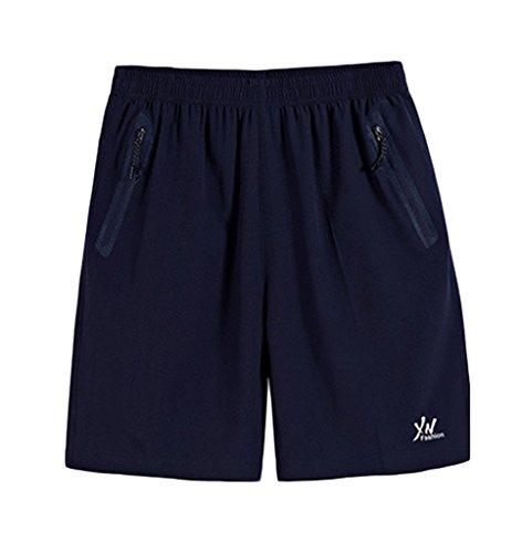 Bigood Homme Polyester Sport Pantalon Souple Lâche Court Casual Été Plage Bleu Taille 7XL