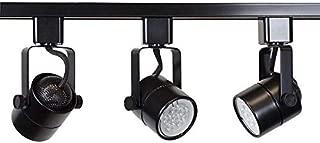Direct-Lighting Brand H System 3-Lights GU10 LED 7.5W LED (500 lumens Each) Track Lighting Kit Black 3000K Warm White Bulbs Included HT-50154L-330K (Black)
