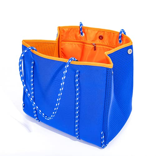 TAIZONG Bolso de playa transpirable de neopreno perforado con gran capacidad para mujer, color gris, 36 x 29 x 26 cm, azul, 36 * 29 * 26cm