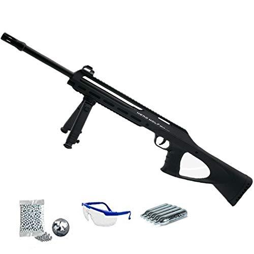 Herd Wolf Model 212 (semiautomática) - Carabina de balines + CO2 + Gafas - Rifle de perdigones <3,5J