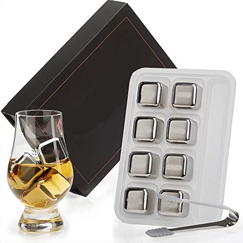 JIZHI Wiederverwendbare Edelstahl Eiswürfel Set, Whiskysteine Geschenksets Für Männer Und Frauen Mit Eissteinzange Zum Schnellen Abkühlen Von Whisky Wein Gin Wodka Tonic Und Cocktails