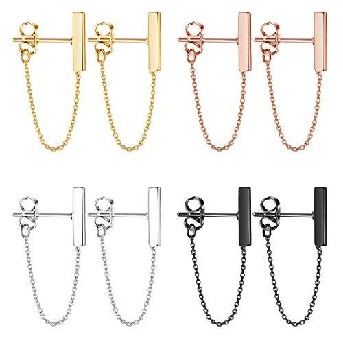 Finrezio 4 paar minimalistische Bar Oorbellen met ketting Dangle Oorbellen voor vrouwen Drop Line Stud Oorbellen Set Sieraden Zilver/Goud/Rose Goud/Zwart Toon