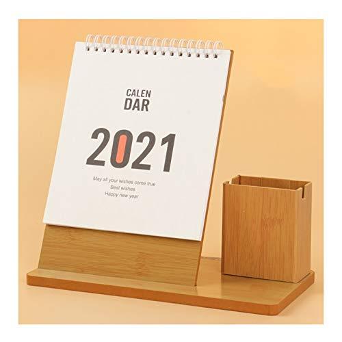 Planificador mensual 2021 multifunción titular de la pluma de la pluma del calendario de escritorio caja de almacenamiento del calendario de escritorio, calendario de escritorio simple planificador Bl