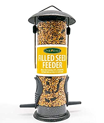 Oakdale Wild Bird Feeder Pre-Filled with Premium Seeds, Large Hanging Metal Frame with Dual Perches, Refillable Lawn and Garden Outdoor Use, Enjoy Birdwatching or Birding by OakDale Products