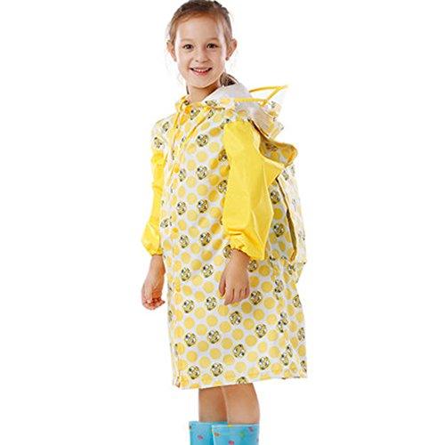 Kinder-Regen-Poncho Studenten Lange Transparent Hut Hut Poncho Kinder Regenmantelauf Gelb Tasche Tasche Druck Thick Raincoat (Size : XXL)