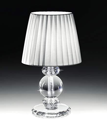 Lampada da comodino in vetro cristallo abatjour tessuto plissettato bianco per comodini camera da letto classica contemporanea